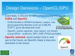 design decisions opencl gpu