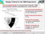 design criteria for the cms experiment