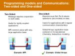 programming models and communications two sided and one sided