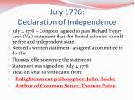 july 1776 declaration of independence