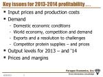 key issues for 2013 2014 profitability