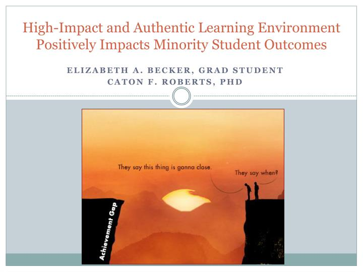high impact and authentic learning environment positively impacts minority student outcomes n.