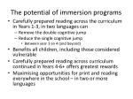 the potential of immersion p rograms