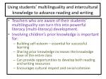 using students multilinguality and intercultural knowledge to advance reading and writing