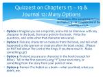 quizzest on chapters 13 19 journal 12 many options