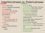 imperfect phrases vs preterit phrases