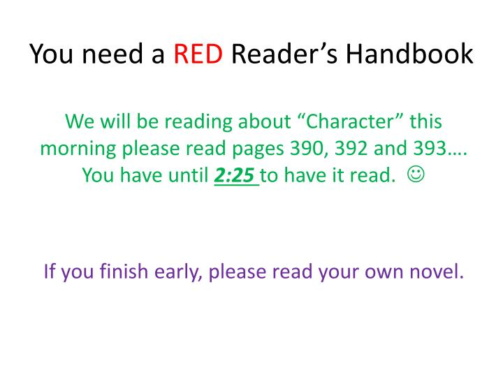 you need a red reader s handbook n.
