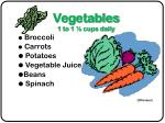 vegetables 1 to 1 cups daily