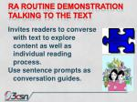 ra routine demonstration talking to the text