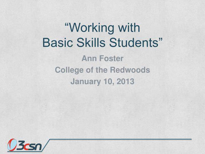 working with basic skills students n.