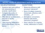 mdrc study of placement testing practices