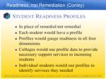 readiness not remediation conley