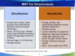 mnt for diverticulosis