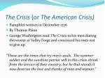 the crisis or the american crisis