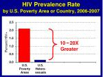 hiv prevalence rate by u s poverty area or country 2006 20074