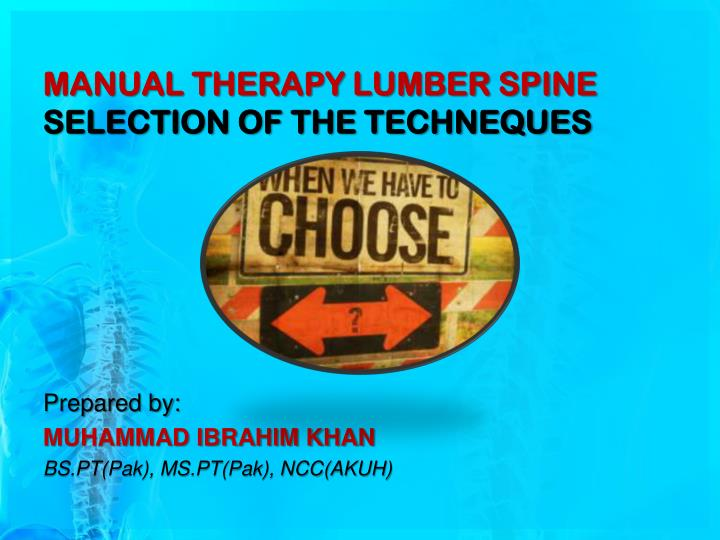 manual therapy lumber spine selection of the techneques n.