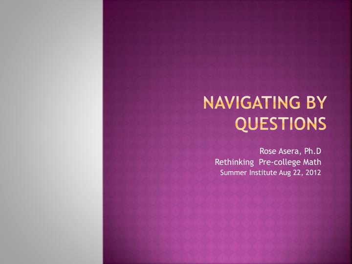 navigating by questions n.