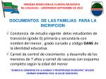 documentos de las familias para la incripcion