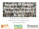 adoption of hermetic storage for cowpea in west central africa in 2012