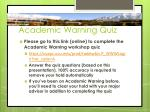 academic warning quiz