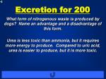 excretion for 200