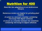 nutrition for 400