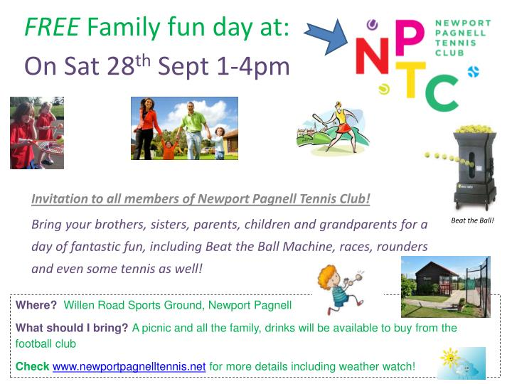 free family fun day at on sat 28 th sept 1 4pm n.