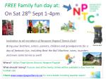 free family fun day at on sat 28 th sept 1 4pm