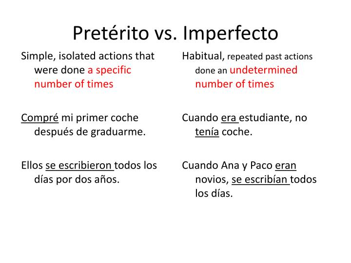 pret rito vs imperfecto n.
