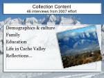 collection content 46 interviews from 2007 effort