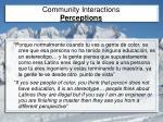 community interactions perceptions