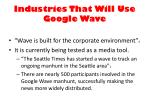 industries that will use google wave