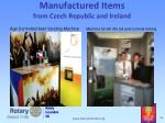manufactured items from czech republic and ireland