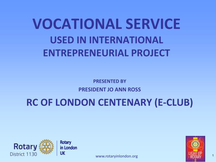 vocational service used in international entrepreneurial project n.
