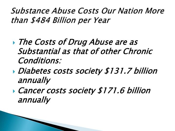 Substance Abuse Costs Our Nation More than $484 Billion per Year