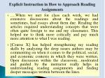 explicit instruction in how to approach reading assignments