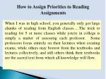 how to assign priorities to reading assignments