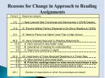 reasons for change in approach to reading assignments