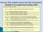 reasons why initial coursework was particularly helpful in strengthening reading skills