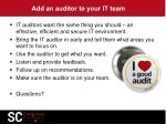 add an auditor to your it team
