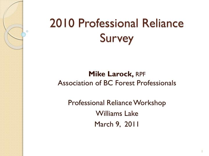 2010 professional reliance survey n.
