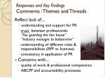 responses and key findings comments themes and threads