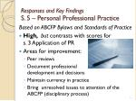 responses and key findings s 5 personal professional practice