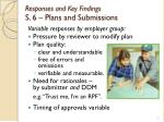 responses and key findings s 6 plans and submissions