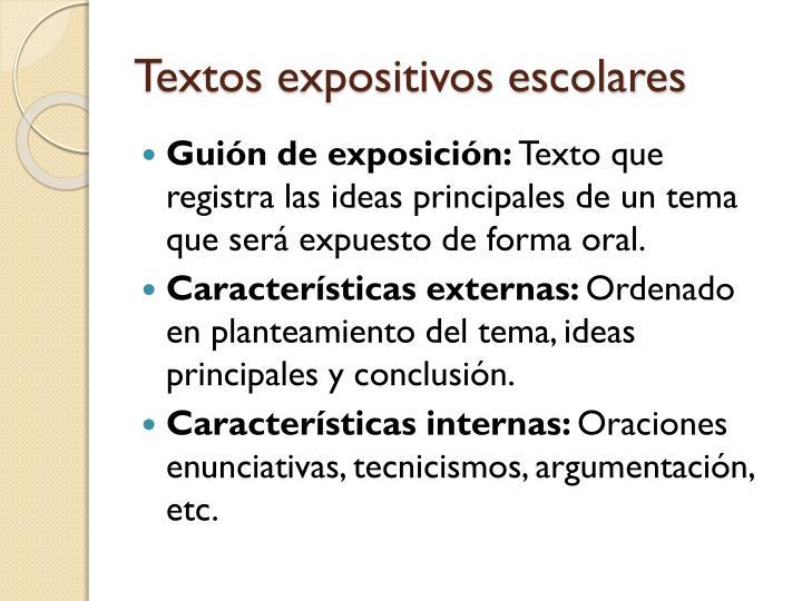 Textos expositivos escolares