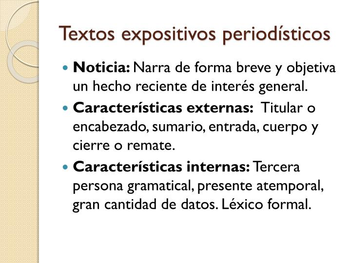 Textos expositivos periodísticos