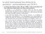 le droit international des droits de la personne universalisation par l o n u