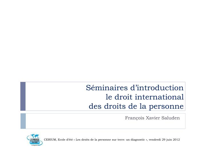 s minaires d introduction l e droit international des droits de la personne n.