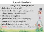 a nyelvi hat sok vizsg lati szempontjai