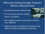 difficulties getting stronger programs without adequate data